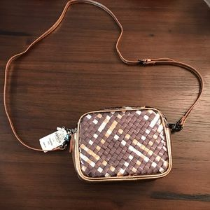 BNWT Neiman Marcus Metallic Weave Crossbody Bag